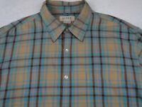 J Crew Mens Cotton LS Button Down Tan Brown Blue Plaid Casual Dress Shirt XL