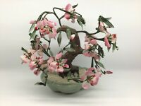 Vintage Jade Bonsai Tree Cherry Blossom Large Petals Celadon Pot Estate Find
