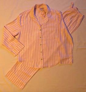 VICTORIAS SECRET Large Shimmer flannel PJ pajama set Pink White Stripe Victoria