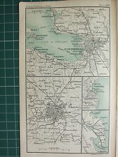 1904 SMALL MAP ~ ST PETERSBURG ENVIRONS CITY PLAN STATIONS MOSCOW ODESSA VILKOV
