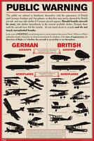 Public Warning German and British Airships 1915 World War I Poster 12x18 inch