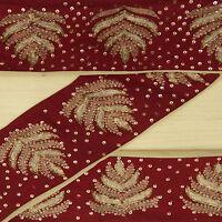 Vintage saree Border Indian Embroidered Maroon Wrap Trim Used Sari Sewing 1YD