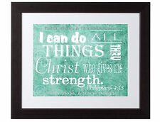 Philippians 4:13 Scripture Art Bible Verse Inspirational print poster Turquoise
