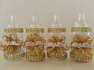 Baby Shower Decoration   12 Gold Fillable Bottles   Favors Prizes or Games