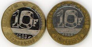 RARE 2 MONNAIES FAUTEES 2 X 10 francs Génie 1988 ET 1989 erreur coeur décentré