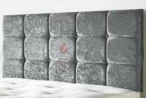 """BED HEADBOARD CUBE CRUSHED VELVET 24"""" - SINGLE - DOUBLE - KING SIZE"""