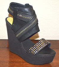 New $390 Authentic Diesel Black Ankle Wedge Leather Heels Sandals 8.5 39 M