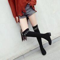 Womens Over Knee High Sock Boots Chunky Heel Elastic Fashion Round Toe Booties