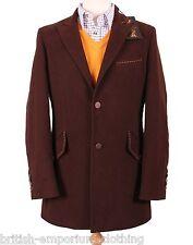 HOLLAND ESQUIRE HAND CUSTOMISED Brown MOLESKIN Car Coat Jacket Uk40 BNWT