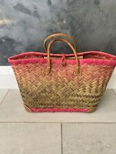 Straw and Pink Shopper Bag Beach with Leather handles