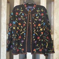 Willowridge Black Embroidered Longsleeve Jacket Size Large