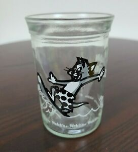 Vintage 1990 Welch's Jelly Jar Juice Glass Tom And Jerry Tom Cat Surfing NO CAP