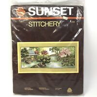 Vtg 1982 Sunset Stitchery ORIENTAL TEA GARDEN Japan Needlepoint Cross NIP NOS