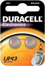 2 piles bouton LR43 Duracell - pile alcaline 1.5V - pile L1142 -AG 12
