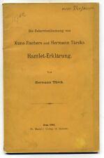Hermann TURCK. Die Iebereinstimmung von Kuno Fischers und Hermann Turcks 1894