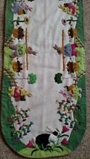 """46"""" Hand made Wool Flannel Flowers RABBIT Bunny Applique EASTER Table Runner #C"""