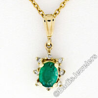 Petite 14K Yellow Gold .97ct Oval Emerald Solitaire Diamond Halo Pendant & Chain