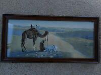 """Antique Print Camel Desert Praying Mecca Egypt ? Framed Litho ? ap 25x12"""" Glass"""