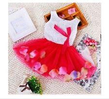 Baby Girl's Red White Dress Tutu Flower Petal Spunky Kids Toddler Size 6-9 Monts