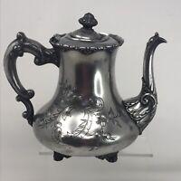 Vintage Aurora Warranted Silver Color Teapot 0293 Floral Embossed Engraved