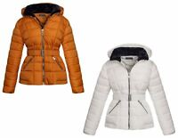 Womens Ladies Black Hood Belted Fur Collar Zip Up Quilted Puffer Jacket Coat