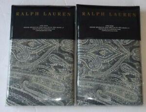 RALPH LAUREN Allister KING Pillow Shams SET OF 2 NEW Paisley Blue
