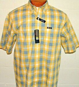 Chaps LT Button Front Short Sleeve Casual Shirt Big & Tall Yellow Plaid Mens New
