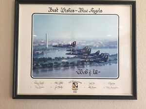 Blue Angels 1981 A-4E/F Skyhawk II Aircraft Airplanes Planes Signed Framed 35th