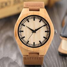100% Nature Wood Bamboo  Genuine Leather Band Strap Men Women Analog Wrist Watch