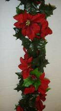 6ft Red Silk Flower Poinsettia Christmas Garland