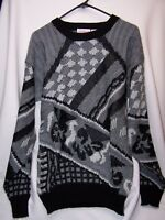 vintage Men's Campus Leather SWEATER 3D Cosby style size XLT Notorious B.I.G.