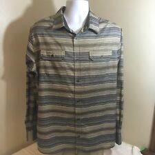 Swiss Tech Mens Shirt Button Front Casual Beige Brown Striped Large Free Ship!