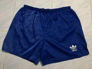 Vintage 90s Adidas shiny Blue Nylon Soccer SHORTS RUNNING PANTS Mens Sport L D7