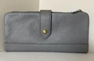 NWT Fossil Lainie clutch Leather wallet Grey