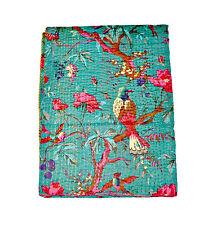 Indian Cotton kantha Quilt blanket,saree kantha quilt, handmade Kantha Bedspread