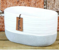Block Grey And White Oval Trough Ceramic Planter