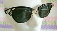Vintage Cat Eye Black Sunglasses Crystals Prescription Marked 1/10 12 Kgf Riso