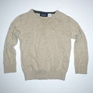 Boys The Children's Place Long Sleeve V-Neck Sweater Size 4T Beige