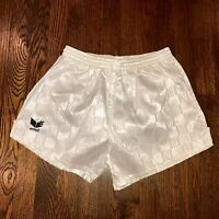 NEW White Erima CHECKERED Mens LARGE Soccer Shiny Glanz Nylon umbro vtg shorts L