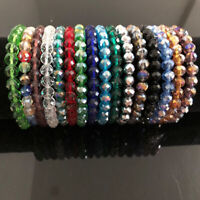 Nice Handmade Women's 8mm Colorful Faceted Crystal Beads Stretch Bracelet Bangle