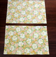 "2 Vintage Standard Pillowcases Fine Muslin Yellow Orange Floral 21"" x 31.5"""