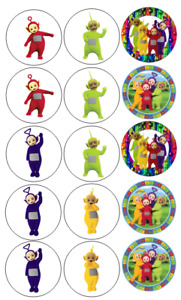15 Pre-Cut Edible Icing Teletubbies Cupcake Cake Icing Toppers