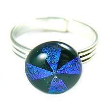 Ring Adjustable Dichroic Glass Emerald Green Teal Black Pinwheel Pattern 7mm 8mm