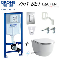 GROHE WC FRAME+LAUFEN PRO RIMLESS WALL HUNG TOILET PAN WITH SOFT SLIM CLOSE SEAT
