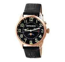 Breed Men's 'Alton' Quartz Stainless Steel and Leather Watch, Color:Black (Model