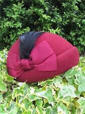 Vintage Authentic 1940's Style Red 100% Wool Felt Half Hat With Feather Trim