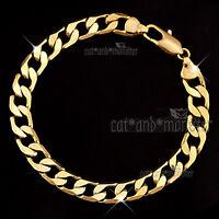 9K 9CT PLAIN GOLD FILLED 8MM CURB RING LINK CHAIN MEN WOMEN BANGLE BRACELET GIFT