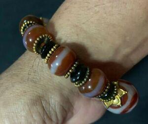 nine eye tibetan bead antique genuine THAI AMULET bracelet MONEY TALISMAN DZI