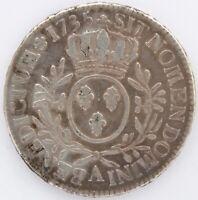 LOUIS XV ECU AU BRANCHES D'OLIVIER 1735 A