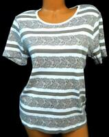 White stag white brown striped floral-lace print plus size tee top XL, 16-18